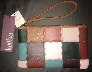 New Tags NWT KOOBA Multi Color Genuine Leather Quilt Patch Wallet Zip Wristlet