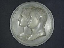 """Antique Large c.1810 Andrieu Fecit Lead Napoleon & Josephine Plaque ~ 5 3/8"""""""