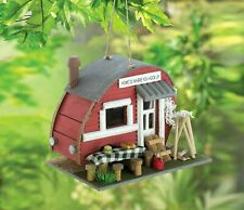 Birdhouse Vintage Campground RV Retro Red Camper Trailer Bird House