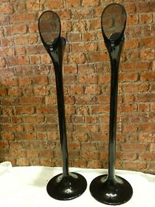Pair Of Tannoy Arena Gloss Black Finish Metal Surround Sound Loudspeaker Stands