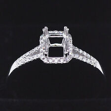 5x7mm Oval Cut Solid 14kt 585 White Gold Natural Diamond Semi Mount Ring