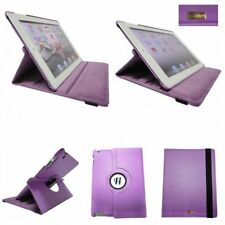For iPad 2 3 4 360 Degree Rotating Leather Case Cover Stand Folio Stand - Purple