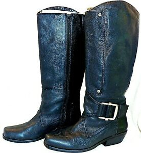 ALTERED Fergie Black Leather Nuclear Boots Tall Biker Engineer Buckles 10 M
