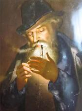 ANTIQUE ROYAL VIENNA PAINTING on PORCELAIN PLAQUE,MAN LIGHTING UP A TOBACCO PIPE