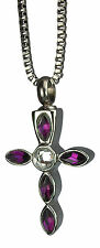 Cremation Jewellery - Memorial Ash Urn Pendant Keepsake - Purple Crystal Cross