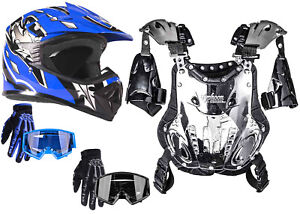 Kids Chest Protector Combo Blue Helmet Gloves Goggles Motocross Youth DOT