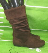 new LADIES Womens Brown Flat Slouch Round Toe Sexy Mid-Calf Boots Size 9