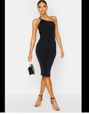Boohoo black one shoulder slinky midi bodycon dress size 12 BNWT