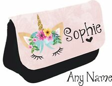 Personalised unicorn face Pencil Case make up bag school xmas Birthday name girl