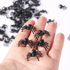 50pcs Small Plastic Fake Spider Toys Halloween Prop Party Haunted Indoor Outdoor