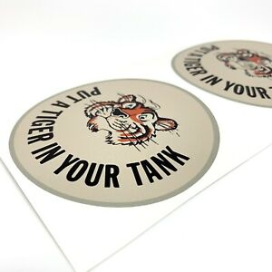 Vintage 2 Gallon Petrol Tin Can Esso Put A Tiger In Your Tank Decal Stickers X2