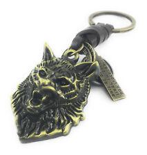 Wolf Schlüsselanhänger goldfarben Antiklook Metall Leder Hund Wildtier CSH78