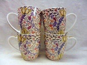 Set of 4 William Morris flora design aspen china mugs