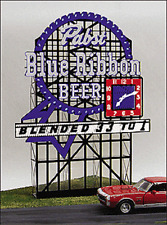 HO Micro Structures Pabst Blue Ribbon Animated Neon Billboard  4081