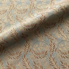 Vintage Blue Brown Embroidered Leaf Upholstery Fabric