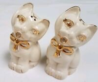 """Antique Cat Salt & Pepper Shakers White/Gold Hand Painted signed """"Matthews"""""""
