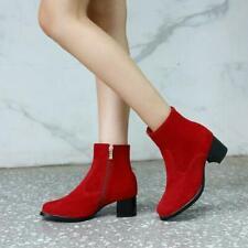 Womens Brogue Zipper Faux Suede Ankle Riding Boots Block Heels Shoes Plus Size