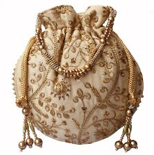 Designer Silk Embroidered Potli Bag Pearl Handle Purse Stylish Women's Handbag C