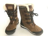 Bearpaw Desdemona Leather Waterproof Shearling Tall Boots Women's 7 Brown