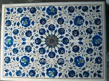 12 x 18 Inches Marble Coffee Table Top Inlay End Table with Lapis Lazuli Stone