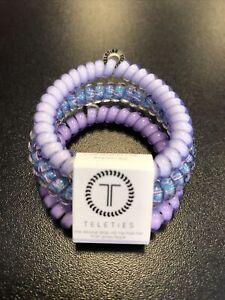 Teleties 3 Pack Small Hair Ties Purple Please Ponytail Holder Bracelets NEW
