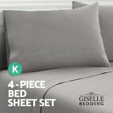 Soft Microfibre Bed Sheet Set Fitted Flat Pillow Case 4 Piece Mattress Protector Coffee - King