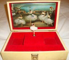 Vintage REUGE Ballerina Wind Up Musical Jewellery Box Cream Leather Look