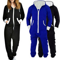 UNISEX MENS WOMENS HOODED ZIP UP SPORT PLAYSUIT PLAIN ALL IN ONE PIECE JUMPSUIT