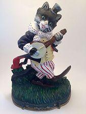 RARE - Vintage Cast Iron Door Stop - Cat Playing Banjo - Good Times Merry Ryhmes