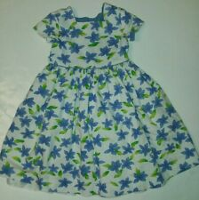 Plum Pudding Ribbed Blue Star Flower Dress Sz 5 Girls Made In USA floral lined