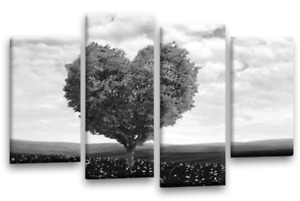 """FLORAL WALL ART GREY BLACK WHITE LANDSCAPE LOVE TREE ABSTRACT CANVAS4PANEL44X27"""""""