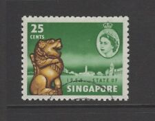 SINGAPORE 1959 25c GREEN, YELLOW & SEPIA NEW CONSTITUTION Nice Used