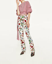 $70 Zara mid-rise floral printed front seam pants-vanilla-ref 2560/765-size XS