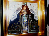 VINTAGE MADONNA VIRGIN MARY DOLL FIGURE GLASS & WOOD FRAME RELIGIOUS ICON KITSCH