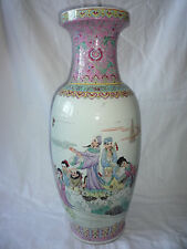 Very Large Chinese Porcelain Painted Picture Vase - Marks
