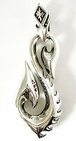 TRIBAL BLADE FISH HOOK SOLID STERLING 925 SILVER PENDANT