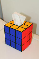 "Tapestry RUBIKS CUBE Design Tissue Box Cover ""Solved!"" - Unique - Handmade"