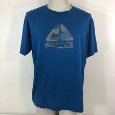 Nike Acg Blue FitDry T Shirt Men's Large Loose Fit L/Xl Swoosh Graphic Fit Dry