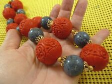 "(v499) Huge Red Cinnabar carved wood + blue New Zealand Coral bead 32"" Necklace"