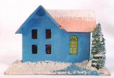 Vintage Christmas House Train Yard Putz Display Blue Pink Cardboard Tree #112