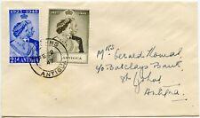 ANTIGUA 1948 ROYAL SILVER WEDDING SET on COVER 2 FEB 1949
