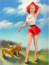 1940s Pin-Up Girl Walking Cocker Spaniel Puppy Dog Dogs Poster Print Art