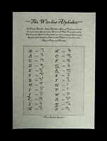 Witches Alphabet Poster Theban Script Wicca Pagan Witchcraft Ritual Spells Altar