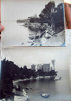 1900  FOTOGRAFIE CON PALAZZI SUL MARE ITALIA DEL NORD (UNO MIRAMARE DI TRIESTE)