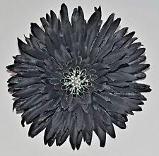 "5"" Jet Gothic Black Gerbera Daisy Silk Flower Hair Clip Pinup Pin"