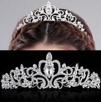 Crystal Rhinestone Flower Wedding Bridal Diamante Crown Hair Clip Hair Accessory