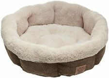 New listing Precision Pet Shearling Round Bed, 21-Inch, Coffee Liqueur Chenille