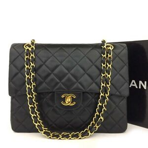 CHANEL Double Flap 25 Quilted CC Logo Lambskin w/Chain Shoulder Bag Black/4092B