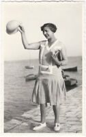 1920s Real Photo Postcard of Woman Flapper Waving Her Hat on the Pier