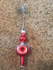 Vintage Red Silver Glass  Christmas Tree Topper Indent 11""